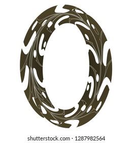 Original Zero Symbol Design. Tropical Leaf Style Letter O Vector Illustration. Stylish Idea for Logo, Emblem etc. Null Number Textured Design in brown and Dark Green
