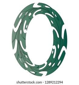 Original Zero Symbol Design. Tropical Leaf Style Letter O Vector Illustration. Stylish Idea for Logo, Emblem etc. Null Number Textured Design in Gradient Green. Oval Floral Frame