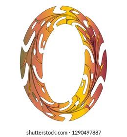 Original Zero Symbol Design. Tropical Leaf Style Letter O Vector Illustration. Stylish Idea for Logo, Emblem etc. Null Number Textured Design in Orange, Yellow, Red. Oval Frame, Border Template