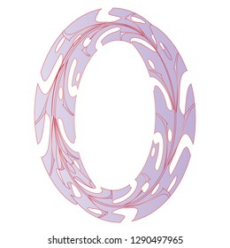 Original Zero Symbol Design. Tropical Leaf Style Letter O Vector Illustration. Stylish Idea for Logo, Emblem etc. Null Number Textured Design in Lilac Color. Spring Oval Frame Template