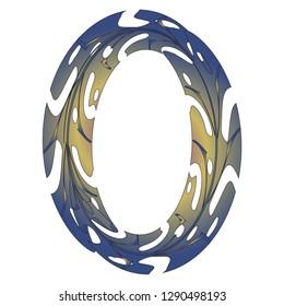 Original Zero Symbol Design. Tropical Leaf Style Letter O Vector Illustration. Stylish Idea for Logo, Emblem etc. Null Number Textured Design. Original Oval Frame
