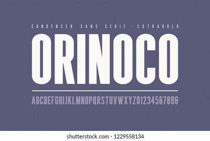 Orinoko condensed extrabold san serif vector font, alphabet, typeface, uppercase letters and numbers.