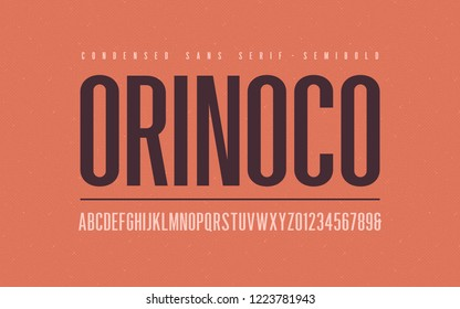 Orinoko condensed semibold san serif vector font, alphabet, typeface, uppercase letters and numbers.
