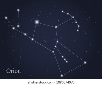 Orion constellation on the starry sky background vector
