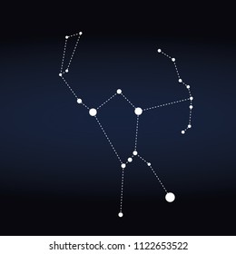 Orion constellation represented with white dots on blue background editable vector