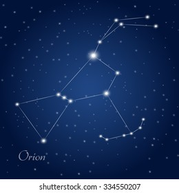 Orion constellation at starry night sky