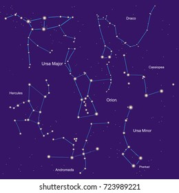 orion, heracle, small and large bear, andromeda, cassiopeia, dragon constellation. set vector illustration