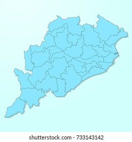 Orissa blue map on degraded background vector