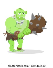 Ork ogre troll with cudgel game character monster