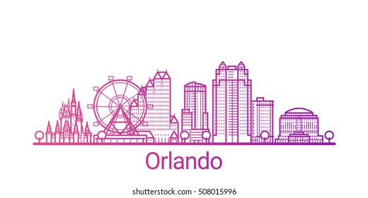 Orlando city colored gradient line. All Orlando buildings - customizable objects with opacity mask, so you can simple change composition and background fill. Line art.