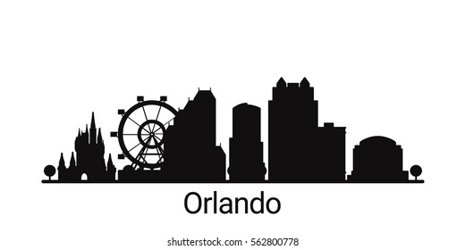 Orlando city outline skyline. All Orlando buildings - customizable objects, so you can simple change skyline composition. Minimal design.