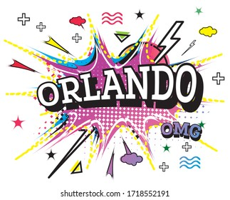 Orlando Comic Text in Pop Art Style Isolated on White Background. Vector Illustration.