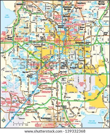 Map Of Orlando Florida Area.Orlando Florida Area Map Stock Vector Royalty Free 139332368