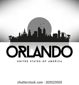 Orlando Florida Black skyline silhouette vector design.