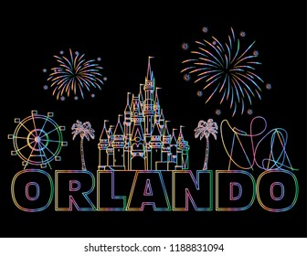 Orlando, Florida; September 16, 2018: Orlando colorful lettering on black background.  Vector with travel icons and fireworks. Art Postcard.
