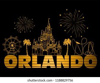 Orlando, Florida; September 16, 2018:Orlando gold lettering on black background. Vector with travel icons and fireworks. Travel Postcard.