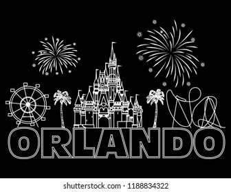 Orlando, Florida; September 25, 2018: Orlando white lettering on black background. Vector with travel icons and fireworks. Travel Postcard.