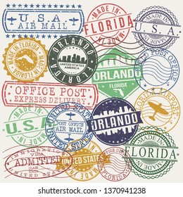 Orlando Florida Set of Stamps. Travel Stamp. Made In Product. Design Seals Old Style Insignia.