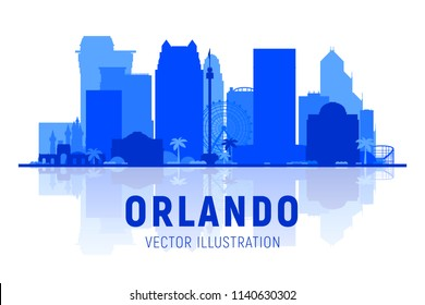 Orlando ( Florida ) skyline with panorama on white background. Vector Illustration. Business travel and tourism concept with modern buildings. Image for presentation, banner, web site.