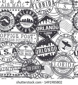 Orlando Florida Stamps. City Stamp Vector Art. Postal Passport Travel. Design Set Pattern.