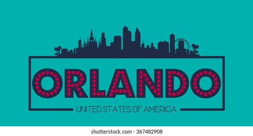 Orlando Florida USA skyline silhouette poster vector design illustration
