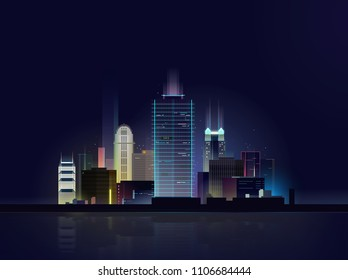 Orlando Night Skyline with Gradient Landscape Silhouette, Buildings and Dark Night Sky. Editable Vector Illustration. Business, Travel, Tourism, Modern Architecture. Image for Banner, Web Site, Prints