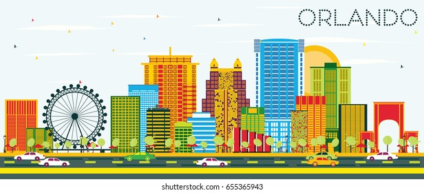 Orlando Skyline with Color Buildings and Blue Sky. Vector Illustration. Business Travel and Tourism Concept with Modern Architecture. Image for Presentation Banner Placard and Web Site.
