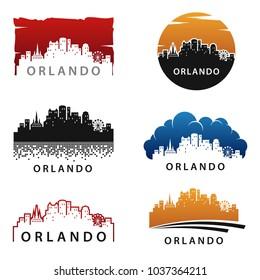 Orlando Skyline Landscape Silhouette Logo Vector