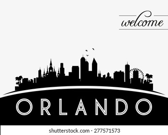 Orlando USA skyline silhouette, black and white design, vector illustration
