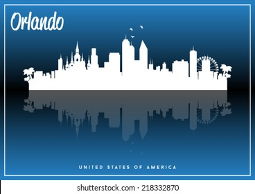 Orlando, USA skyline silhouette vector design on parliament blue background.