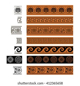 Ornament of ancient Greece. Vector. Brush.