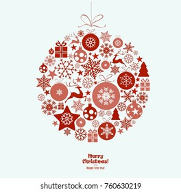 Ornament ball with snowflakes hanging, red. text Merry Christmas and happy new year isolated on light background. Christmas ball