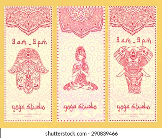 Ornament beautiful card with banner yoga. Geometric element hand drawn. Perfect  cards for any other kind of design, birthday and other holiday, kaleidoscope,  medallion, yoga, india, arabic