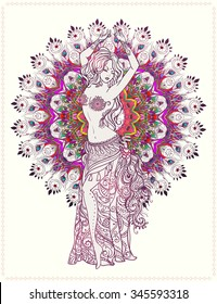 Ornament beautiful card with girl belly dance, Tribal Fusion. Geometric element hand drawn.For design, birthday and other holiday, kaleidoscope,  medallion, yoga, india, arabic