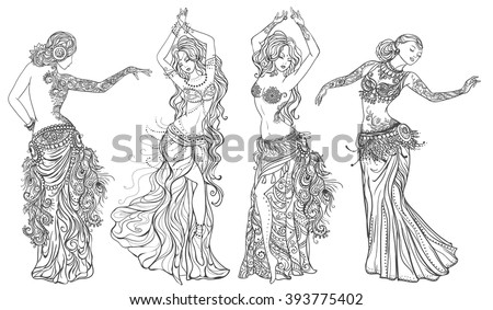 Ornament Beautiful Card Girl Belly Dance Stock Vector Royalty Free