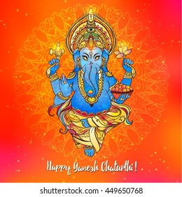 Ornament beautiful card with lord Ganesh image. God with elephant head. Illustration of Happy Ganesh Chaturthi. Invitation, greeting, birthday, holiday card. Indian traditional festival