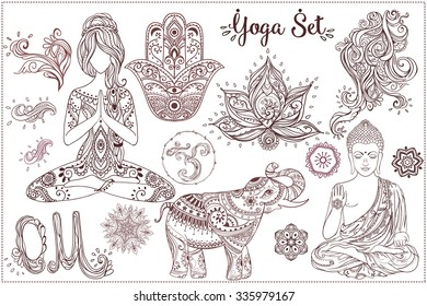 Ornament beautiful card with Set Vector yoga. Geometric element hand drawn. Girls in yoga pose and ornaments, Buddha, chakra, elephants, hamsa, om sign, mandalas, kaleidoscope,  medallion, yoga, india