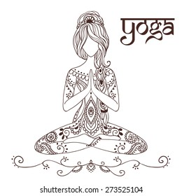 Ornament beautiful card with Vector yoga Geometric element hand drawn Types practices is Raja, Karma, Jnana, Bhakti, Hatha, kaleidoscope  medallion yoga india arabic For logos banners flyers