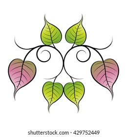 ornament with bo leaves in green & pink-vector drawing
