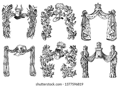 Ornament with calligraphic elements in baroque style. Medieval vintage heraldry. Flourishing Decoration for the coats of arms of a fantasy kingdom. Vector sketch hand drawn.