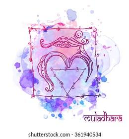 Ornament card with chakra. Geometric element hand drawn. Perfect  cards for any other kind of design, yoga center, class, Muladhara,Manipu,r Anahata, Vishudha, Ajna, Sahasrara, swadhistana