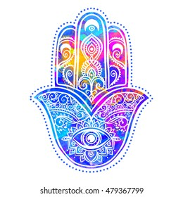 Ornament card with hamsa. Geometric circle element made in vector. Talisman ornamental pattern, symbol Eye protection. Watercolor