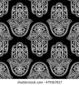 Ornament card with hamsa. Geometric circle element made in vector. Talisman ornamental pattern, symbol Eye protection. Kaleidoscope,  medallion, yoga, india, arabic