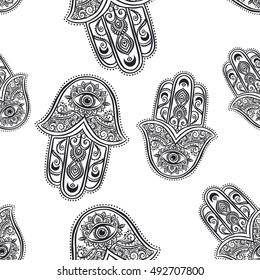 Ornament card with hamsa. Geometric circle element made in vector. Talisman ornamental symbol Eye protection. Kaleidoscope, medallion, yoga, india, arabic