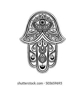 Ornament card with hamsa. Geometric circle element made in vector. Talisman ornamental hamsa, symbol Eye protection.