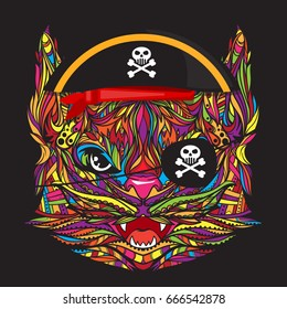 Ornament cat pirate face with skull emblem, vector illustration isolated on dark background