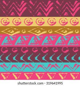 Ornament colorful ethnic. Geometric design pattern. Hand drawn pattern