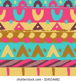 Ornament colorful ethnic. Geometric pattern. Hand drawn pattern
