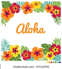 Ornament decorative border illustration with hibiscus and palm leaves for print.