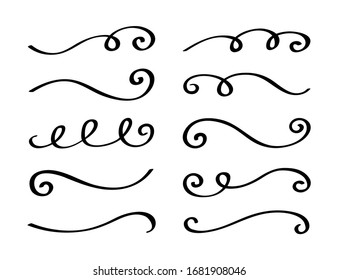 Ornament divider collection. Hand drawn collection of curly swishes. Calligraphy swirl. Highlight text elements. Vector illustration.